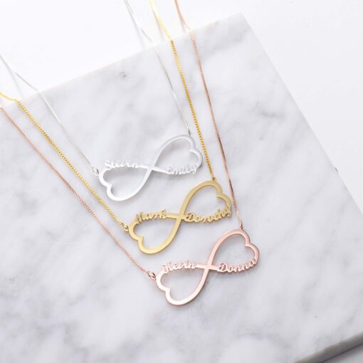 Heart Infinity Necklace for Couple with Two Names