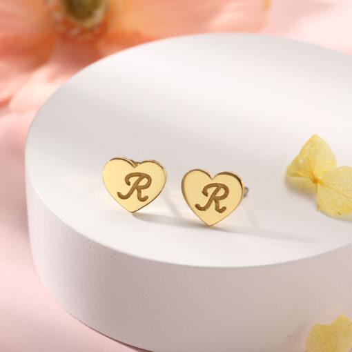 Heart Stud Earrings Gold