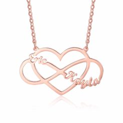 Heart With Infinity Sign Necklace Rose Gold