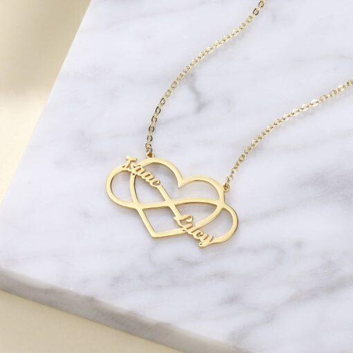Infinity Couple Name Pendant Gold