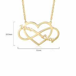 Infinity Heart Necklace Gold Size Materials