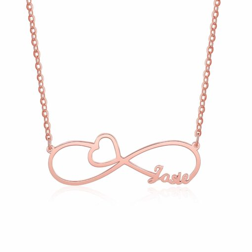 Infinity Necklace With Name Rose Gold