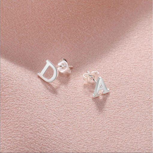 Initial Earrings Silver