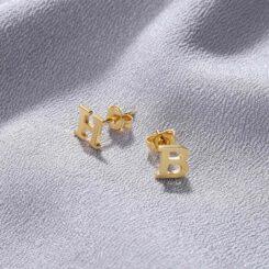 Letter Earrings Gold