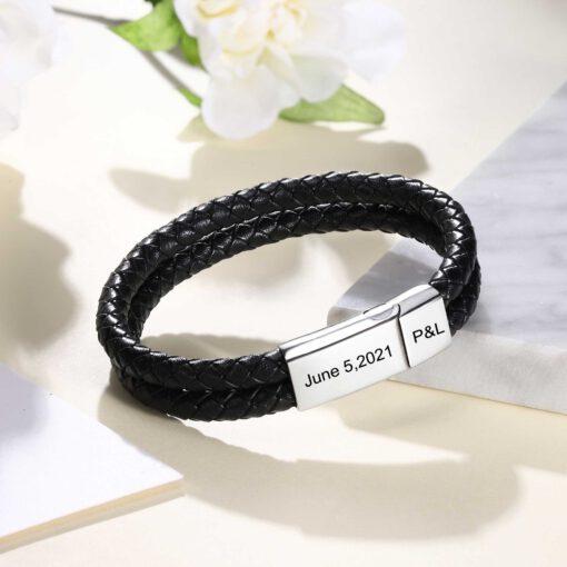 Men Leather Bracelet For Couple