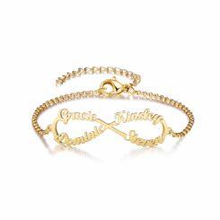 Mom Bracelet With 4 Names Gold
