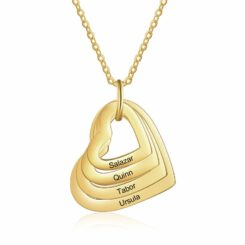Mom Necklace With 4 Kids Names Gold