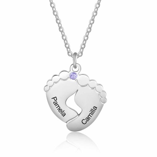Mom Necklace with Footprints