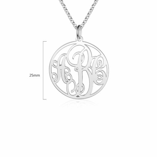Monogram Necklace Sterling Silver Size Material