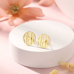 Monogram Stud Earrings Gold