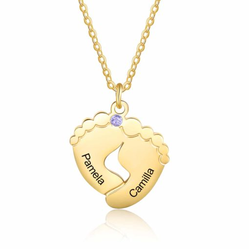 Mothers Day Necklace with Footprints