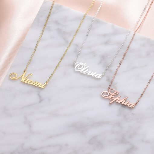 Name Plate Necklace Gold Silver Rose Gold