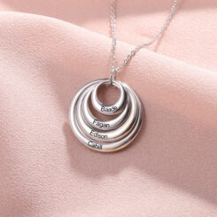 Nana Necklace With Grandkids Names Silver