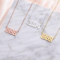 Number Necklace Silver Gold Rose Gold