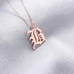 Old English Initial Alphabet Letter Necklace Rose Gold