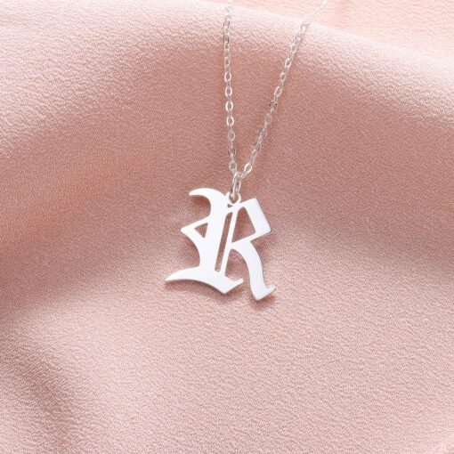 Old English Initial Pendant Sterling Silver