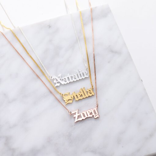 Old English Name Pendant Silver Gold Rose Gold