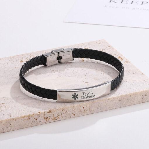 Personalised Black Leather Diabetic Bracelet Medical Condition Bracelet