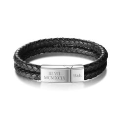 Personalised Leather Bracelet For Men Black
