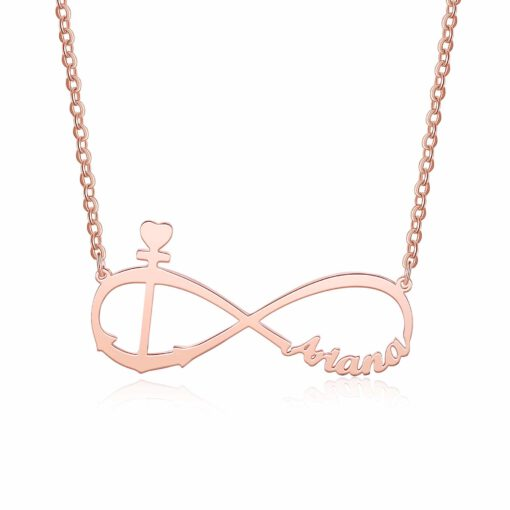 Personalized Anchor Infinity Necklace In Rose Gold