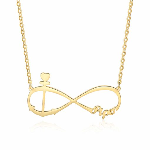 Personalized Anchor Necklace Infinity Gold