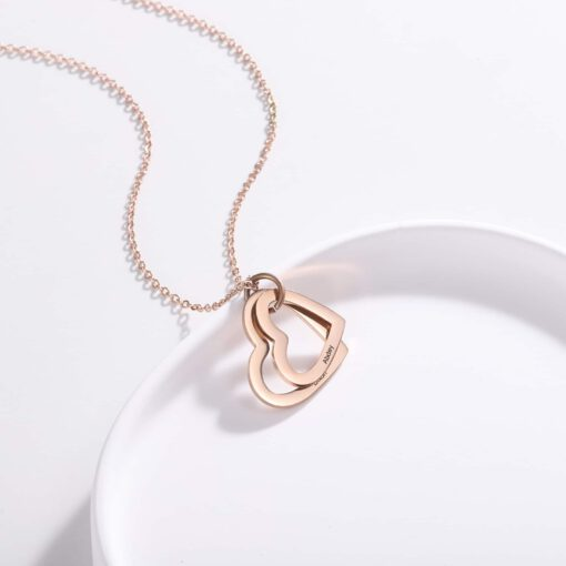 Personalized Gift For Mom 2 Hearts Rose Gold