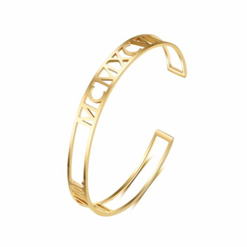 Personalized Gold Date Bracelet For Women