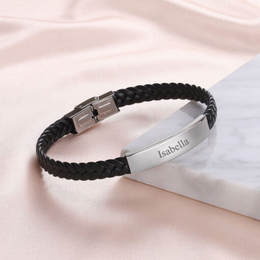 Personalized Leather Bracelet For Him And For Her