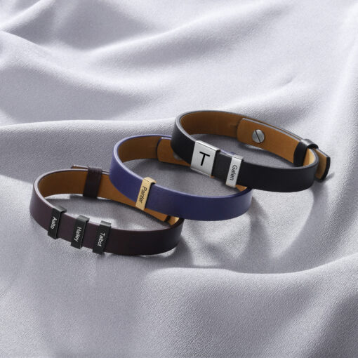 Personalized Leather Bracelet for Him Mens Custom Leather Bracelet