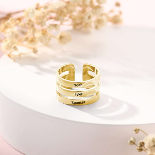 Personalized Ring For Mom Gold