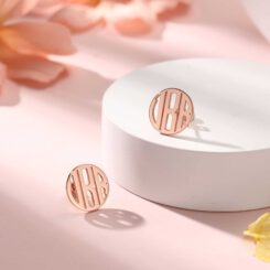 Personalized Stud Earrings With 3 Initials Rose Gold