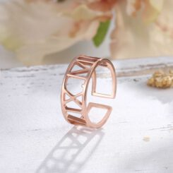 Roman Numeral Date Rose Gold Name Ring Adjustable