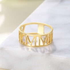 Roman Numeral Ring In Gold