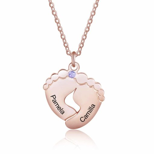 Rose Gold Baby Footprint Necklace
