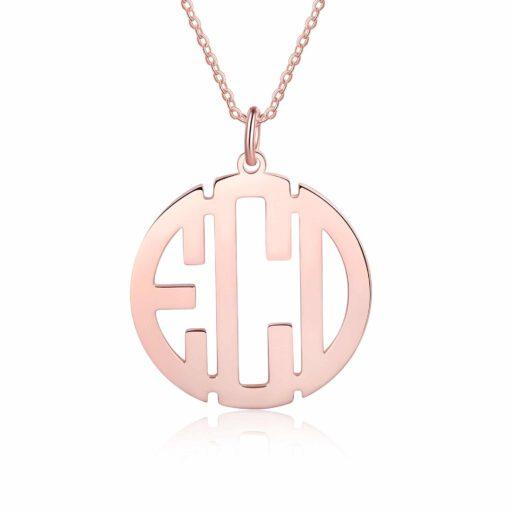 Rose Gold Block Letter Monogram Necklace