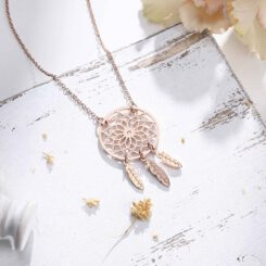 Rose Gold Dreamcatcher Necklace For Women
