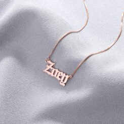 Rose Gold Gothic Font Necklace