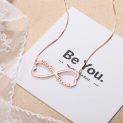 Rose Gold Infinity Name Necklace for Couples
