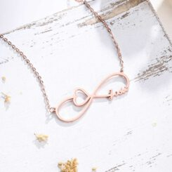 Rose Gold Infinity Necklace With Name