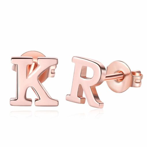 Rose Gold Letted Stud Earrings