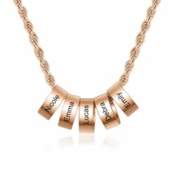 Rose Gold Mom Charm Necklace With 1-8 Names