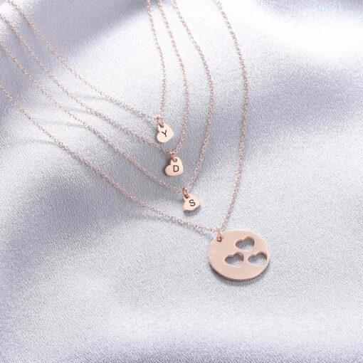Rose Gold Mother Daughter Necklace for 1 2 3 4 Kids