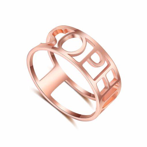 Rose Gold Name Ring Custom Made