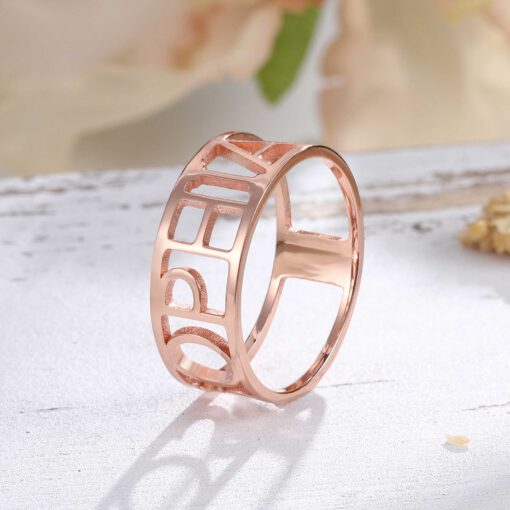 Rose Gold Name Ring Personalized