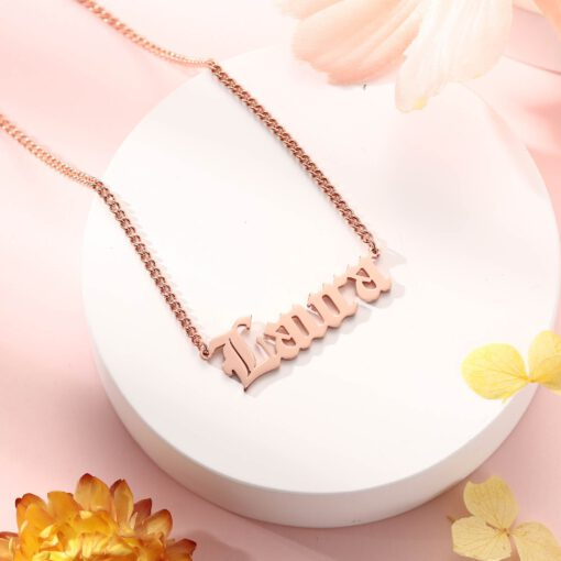 Rose Gold Old English Name Necklace With Curb Chain
