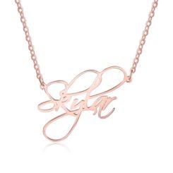 Script Name Necklace Rose Gold