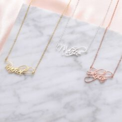 Script Name Necklace Silver Gold Rose Gold