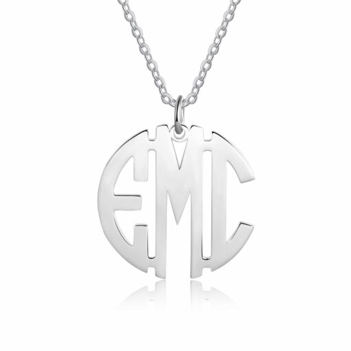 Silver Block Letter Monogram Necklace