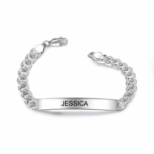Silver Id Bracelet Size Materials