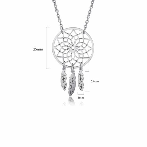 Silver Dream Catcher Necklace Size & Material